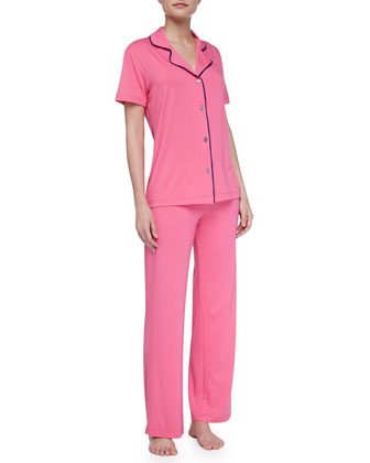 Bella Piped Short-Sleeve Pajamas, Miami Pink/Twilight