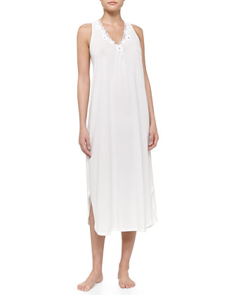 Whispering Flowers Pima Cotton Tank Nightgown, White