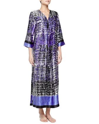 Starry Sky Print Long Caftan Gown, Blue/White/Black