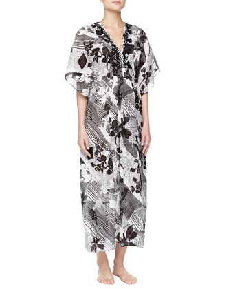 Twilight Garden Floral Embroidered Caftan Gown, White/Black