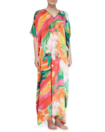 Garbo Satin Floral Long Caftan, Multi