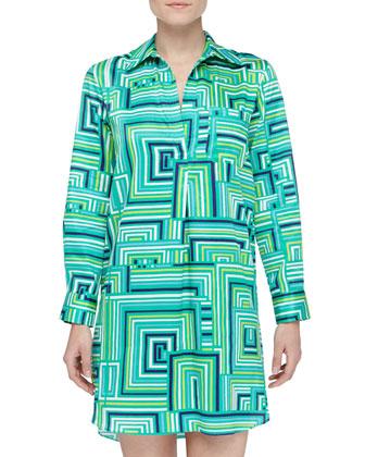 Cube-Print Sateen Sleep Shirt, Sea Glass