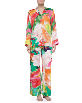 Garbo Satin Floral Two-Piece PJ Set, Multi