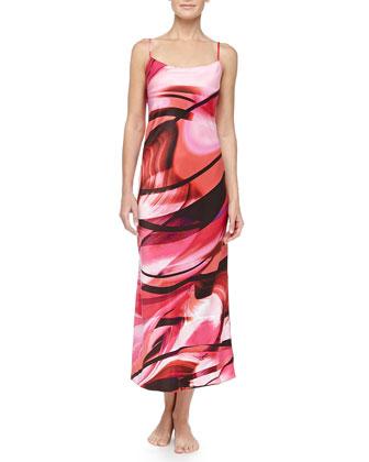Garland Swirl Print Tank Gown, Azalea