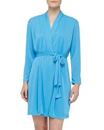 Enchant Slinky Knit Short Robe, Maritime Blue