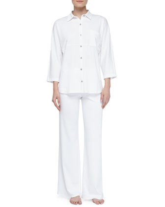 Bliss Pima Tunic Pajamas, White