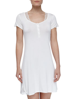 Julianna Microfiber Short-Sleeve Gown, Ivory
