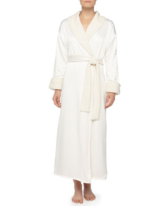 Faux-Sherpa Lined Charmeuse Long Robe, Alabaster