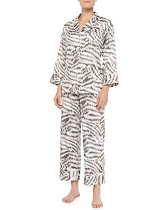 Sierra Animal-Print Poplin Pajama Set, Gingerbread