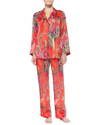 Katerina Silky Satin Ikat-Print Pajamas
