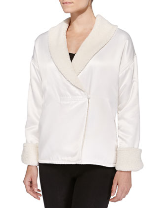 Faux-Sherpa-Lined Charmeuse Bed Jacket