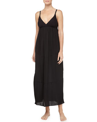 Tissue Crepe Long Gown, Black