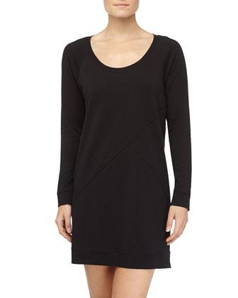 Long-Sleeve Pima Cotton Sleepshirt, Black