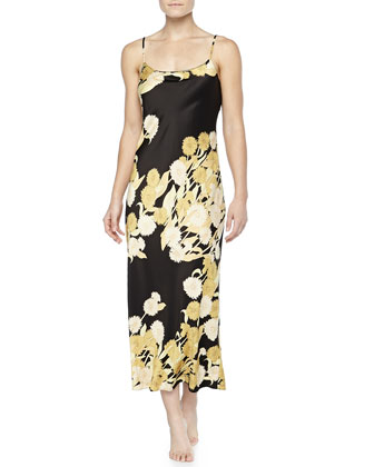 Irina Floral-Print Long Gown, Black/Gold