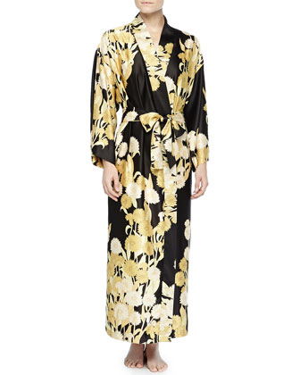Irina Floral-Print Long Robe, Black/Gold, Women's