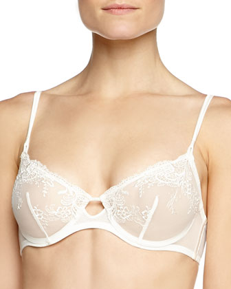 Sheer Tulle Soft-Cup Bra w/ Lace, Natural