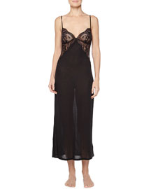Begonia Lace-Inset Long Gown, Black
