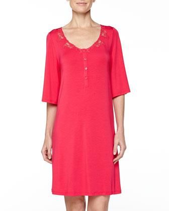 Primula Lace-Trim Sleepshirt, Lampone