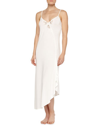 Primula Embroidered Asymmetric Long Gown, Natural