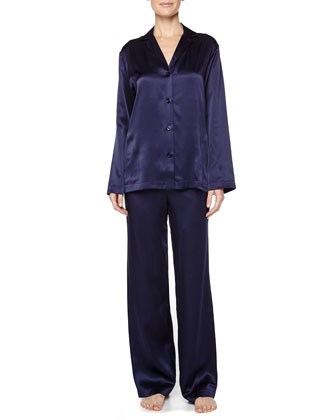 Satin Button-Front Pajama Set, Navy