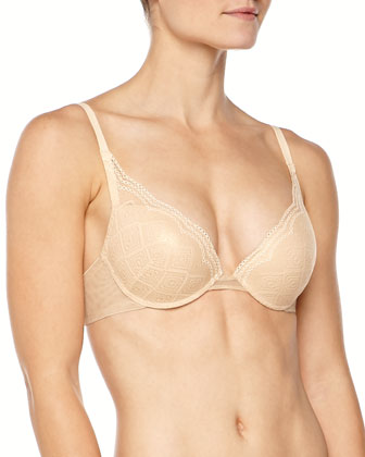 Amalfi Diamond Lace Shimmer Push-Up Bra, Blush Gold