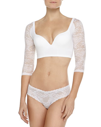 Trenta Betsy Lace-Sleeve Push-Up Bra, White
