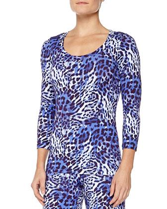Vindemia Leopard-Print Sleep Top, Nebbia/Twilight