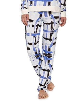 Tartan Brushstroke-Print Sleep Pants, Zaffiro