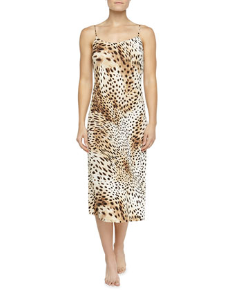 Gabon Leopard-Print Jersey Gown, Natural