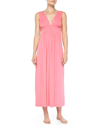 Pleated Embroidered Tank Gown, Rose