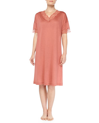 Uptown Lace-Trimmed Short Nightgown, Blush