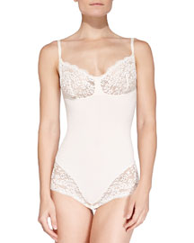 Lust Have Slimming Lace-Trimmed Teddy, Elegant Pearl