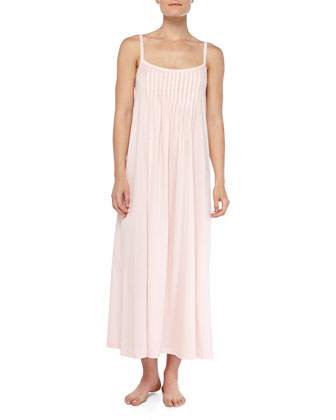 Juliet Crystal-Pleated Long Chemise, Tender Rose