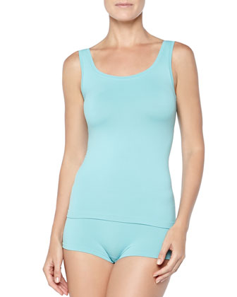 Touch Feeling Stretch-Jersey Tank Top, Arctic Turquoise