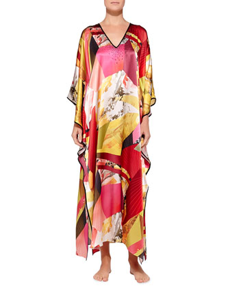 Abstract Geometric-Print Beaded Caftan