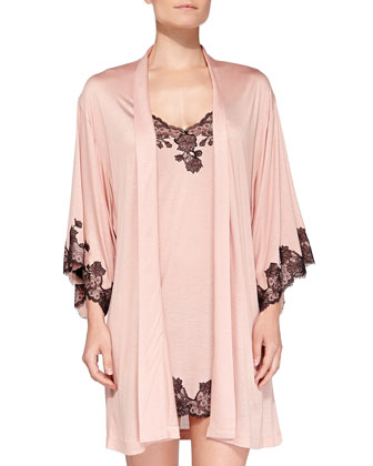 Charlize Floral Lace-Trimmed Wrap Robe, Sweet Blush