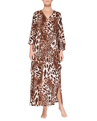 Jewel-Embellished Animal-Print Caftan, Natural Brown