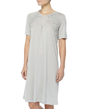 Cashmere-Blend MOMA Lace-Detailed Gown, Gray Melange