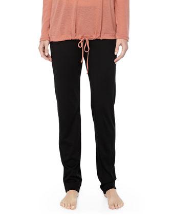 MOMA Wool-Silk Straight-Leg Pants, Black