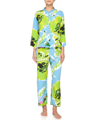 Lana Floral-Print Pajama Set, Periwinkle