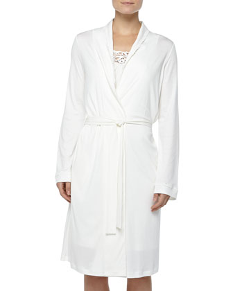 Queens Lace-Detailed Robe, Off White