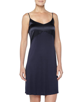 Broadway Satin-Trimmed Chemise, Ink