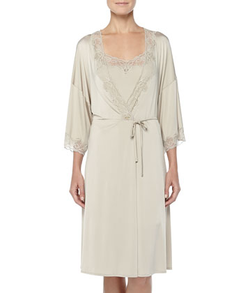 Universe Of Hanro Lace-Trimmed Wrap Robe, Gold Gray