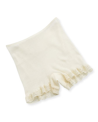 Lace-Trimmed Wool-Silk Boxer Shorts, Pale Cream