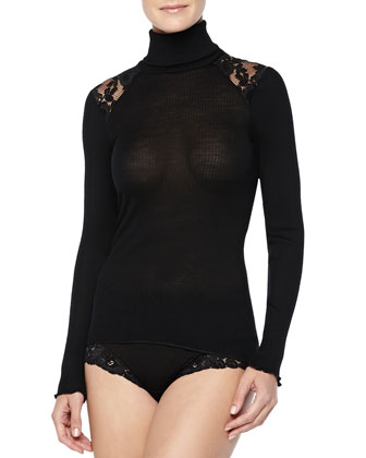 Met Lace-Inset Wool-Silk Turtleneck Top, Black
