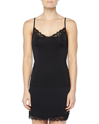 East River Lace-Trimmed Half Slip, Black