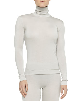Cashmere-Silk Turtleneck Top, Pergament