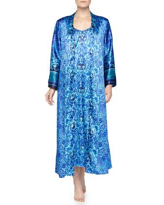 Scroll-Print Charmeuse Long Robe, Blue
