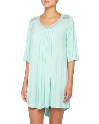 Lace-Inset Modal Sleepshirt, Aqua