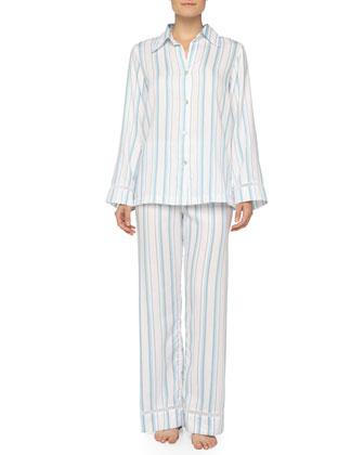 Floral Cotton-Jacquard Striped Pajama Set, Blue/White